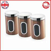 Copper Canisters Set of 3 Kitchen Storage Containers Tea Coffee Sugar Accessory