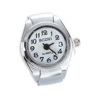 Unisex Quarzlegierung runde weisse Zifferblatt arabische Ziffern Ring Uhr S D4G3
