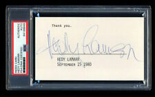 HEDY LAMARR SIGNED MINT INDEX CARD AUTOGRAPHED PSA/DNA SLABBED BEAUTIFUL!
