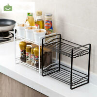 2-Tier Kitchen Spice Rack Storage Organizer Seasoning Bottle Stand Shelf Holder