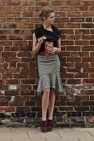 "Anthropologie ELEVENSES ""Bellerby Skirt"" Tweed Flounce Fit & Flare Fringed 2 XS"