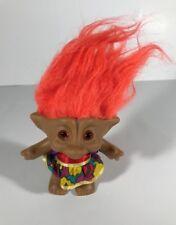 Vintage Troll Doll Orange Hair Multicolor Dress