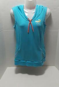 PUMA Womens Pull Over Sleeveless Hoodie Blue/Orange Sweatshirt Active Vest Sz S