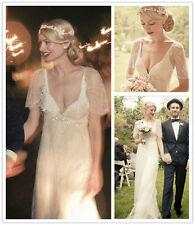 Luxury Crystal Boho Bridal Gown Beach V Neck Wedding Dresses Size 2 4 6 8 10 12+