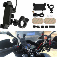 Motorcycle Handlebar Telescopic X-Grip Clamp Phone Holder Mount USB Charging Por