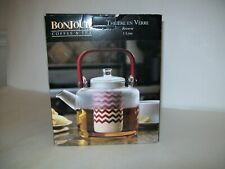 BonJour Teapot Reverie 35oz Handblown Glass Teapot With Bamboo Handle