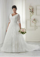New Plus Size 2017 White/Ivory Bridal Gown Lace Wedding Dress Stock Size:14---26