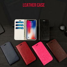 Genuine Real Leather Wallet Card Holder Flip Case Cover for iPhone & Samsung