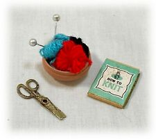 Vtg Dollhouse Miniatures Knitting Basket, Scissors, How to Knit Book 1:16 Scale