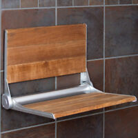 "Clevr 18"" Serena Folding Shower Bench Seat Teak Wood Bath Medical Wall Mount"