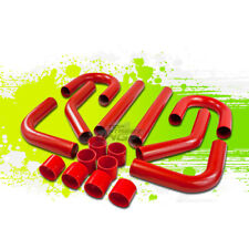 """UNIVERSAL 2.75"""" 8 PCS ALUMINUM INTERCOOLER PIPING+T-CLAMPS+SILICONE HOSES RED"""