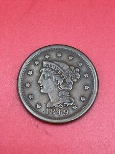 1849 Braided Hair Copper Large US Cent D101