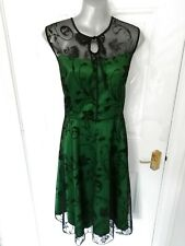 ❤ LINDY BOP Size 20 Green Black Mesh Lace Frankie Jean Dress NEW Lined