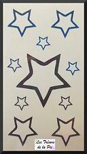 TATOUAGE TEMPORAIRE TATOO (x10) - Body art - Etoiles - Noir & bleu encre