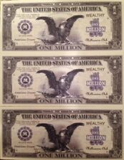MILLION DOLLAR BLACK EAGLE NOVELTY NOTES LOT of (3) GREAT GIFT FROM USA SELLER