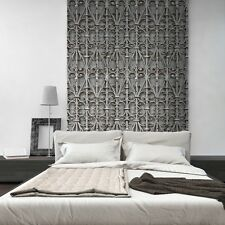 3D Metal Gate Feature Wall Iron Trellis Pattern Wallpaper Modern Ornate Black