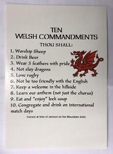 Ten Welsh Commandments Postcard