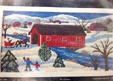 Covered Bridge Long Stitch Needlepoint Kit 9x16 Snowy Winter Scenery Mazaltov's