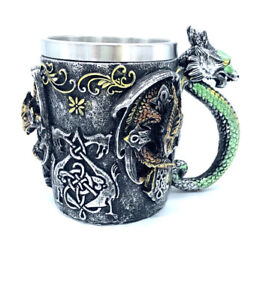 Dragon Skull Tankard Beer Cup Stainless Steel And Resin
