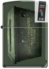 Zippo 221 Ammo Crate Can Green Matte Windproof NEW RARE Lighter + FLINT PACK