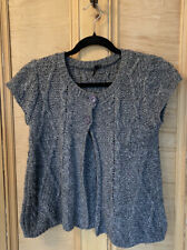 TOPSHOP grey CARDIGAN TOP cover Up Shrug Sleeveless Size 10 work Jumper KNIT