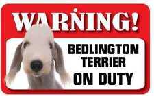 Bedlington Terrier Sign - Laminated Card -  Beware Of Dog 20cm x 12cm