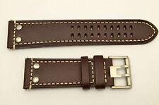 Luminox watch band 1887  Field leather Dark BROWN  26mm strap rivets 1880 series