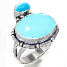 Chalcedony Gemstone 925 Sterling Silver Jewelry Ring Size 9 8661