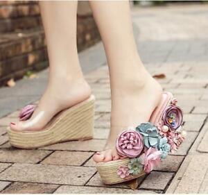 Women's Sexy Fashion Wedge Heels Peep Toe Slipper Floral Sweet Platform Sandals