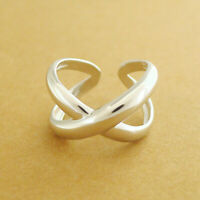 Solid 925 Sterling Silver Chunky Infinity Eternity Love Knot Criss Cross Ring