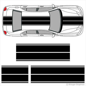 Dual Rally Racing Stripes 3M Vinyl Double Stripe Decals for Chrysler 300