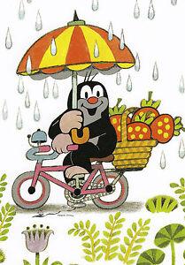 Postkarte/ Postcard:  Der kleine Maulwurf im Regen