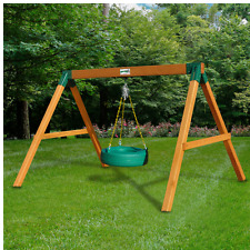 Home and Garden Free Standing Tire Swing Set Outside Wood  Cedar Childrens  New