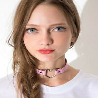 Women Punk Goth Leather Rivet Heart Ring Collar Choker Funky Necklace Hot Sale