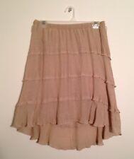 BCX Women's Light Tan Ruffled Layered Skirt Size Large L