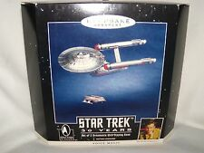 "Hallmark-Ornament- "" Star Trek 30 Years ""  Voice Magic-2 pieces with base 1996"