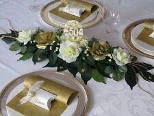 Tischgesteck Ehrenplatz creme/gold Tischdeko Goldene Hochzeit