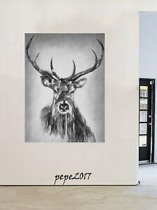 """24"""" Framed  Print Canvas elk street Art graffiti stag deer moose painting"""