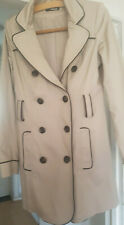 Jane Norman Lightweight Short Beige Biscuit Natural Cotton Trench Coat Size 8