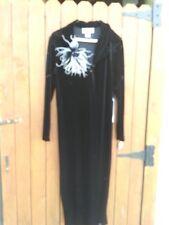 Womens Black Full Length Coat Velvet Size 12 Dressy
