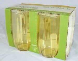 NOS Set of 4 Vtg 70s Anchor Hocking TRENDS Honey Amber Drinking Glasses 11.5oz