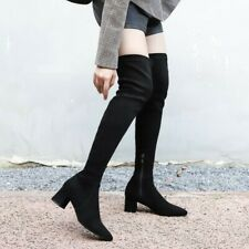 Women Over Knee High Boots Suede Fabric Block Mid Heel Thigh Stretch High Shoes