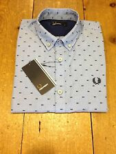 Fred Perry Long Sleeve Shirt Tipped Dobby  Turquoise - S