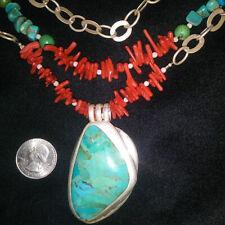 Sterling Silver Massive Turquoise Coral Jade Multi Strand Necklace BARSE