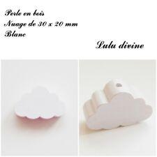 Perle en bois de 30 x 20 mm, Perle plate gros Nuage : Blanc