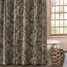 Realtree Xtra 2pc Bath Accessory Set Camo Rustic Shower Curtain / 12 Resin Hooks