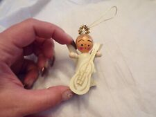 Vtg Christmas Ornaments Wooden Angel
