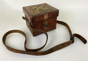 Antique 19thC Victorian Leather Bronze Compass Ammo Box Carrying Case Strap Bag