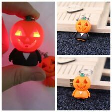 Unique 1Pcs Pumpkin LED Small People Glow In The Dark Handbag Keychain Ring Gift