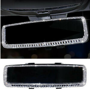Crystal Diamond Interior Rearview Mirror Women Bling Car Decor Accessories
